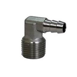 "1/2"" NPT to 3/8"" Barbed 90 Degree Elbow - Stainless"